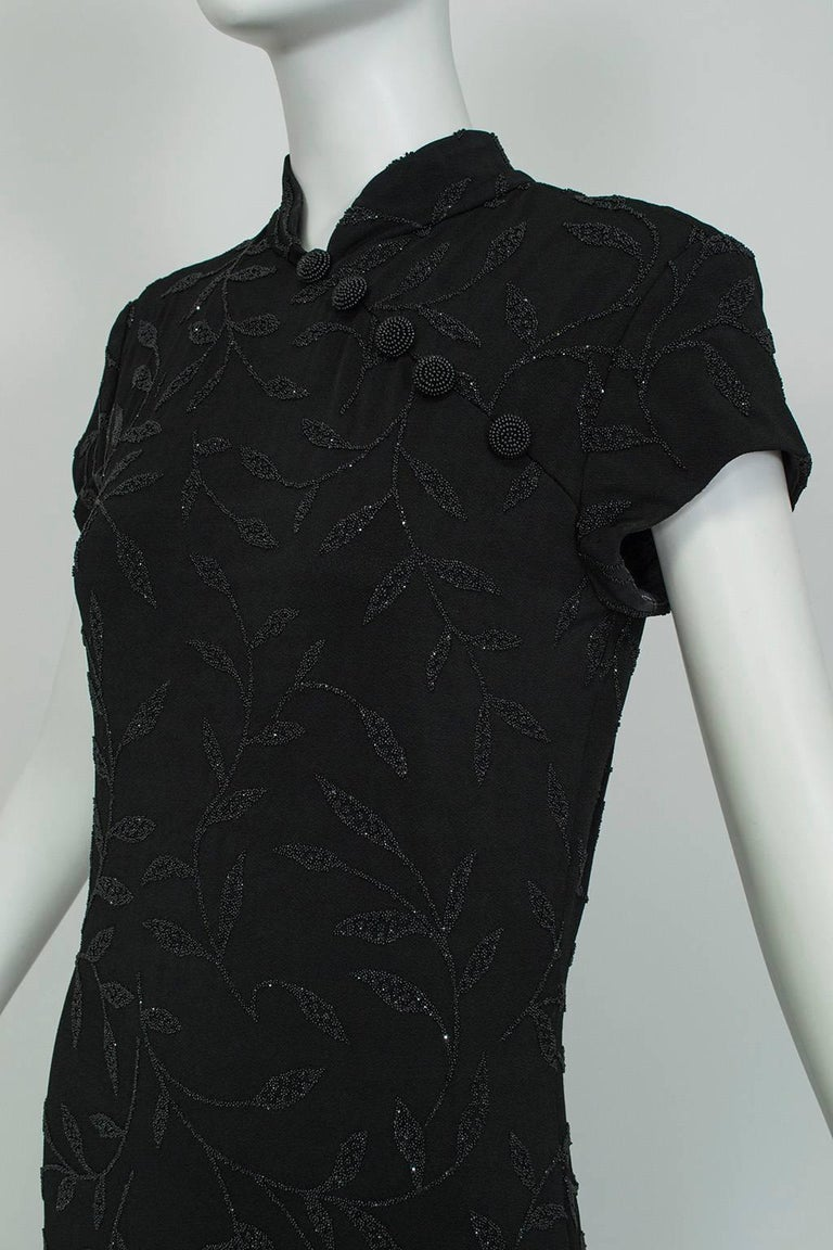 Huey Waltzer Beaded Qipao Column Gown, 1997 In Excellent Condition For Sale In Phoenix, AZ