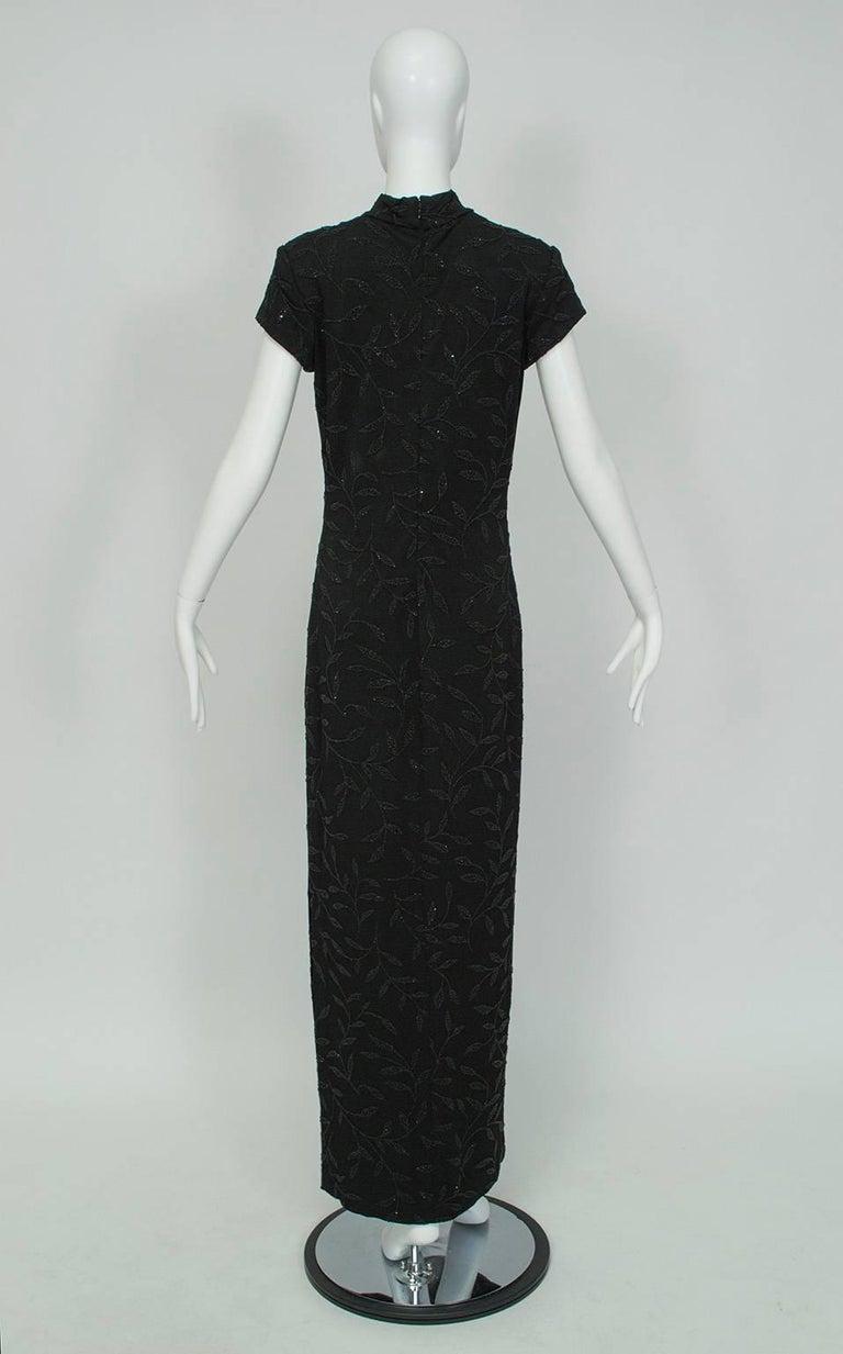 Black Huey Waltzer Beaded Qipao Column Gown, 1997 For Sale