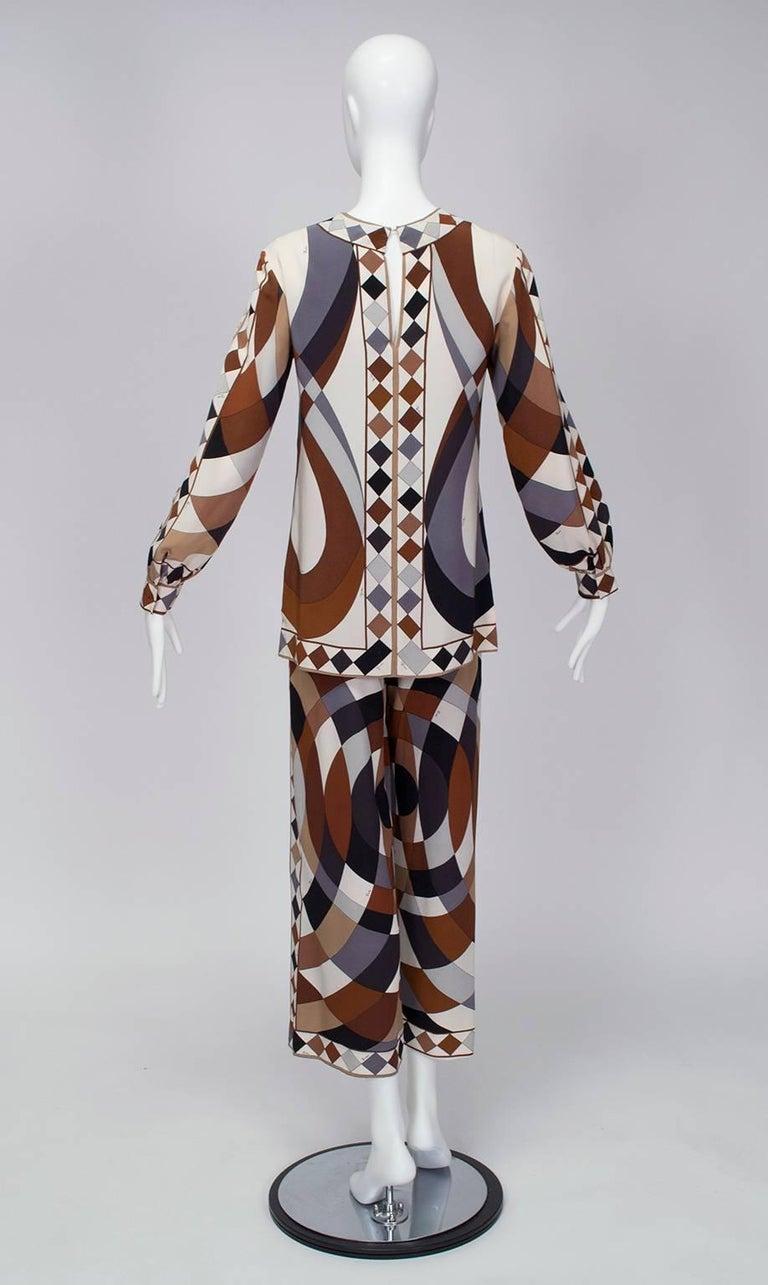Black Emilio Pucci Silk Tunic and Palazzo Trouser Ensemble, 1970 For Sale