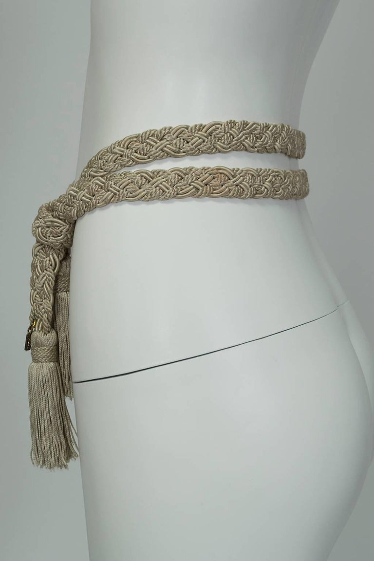 Yves Saint Laurent Ysl Woven Silk Rope Tassel Belt 1970s