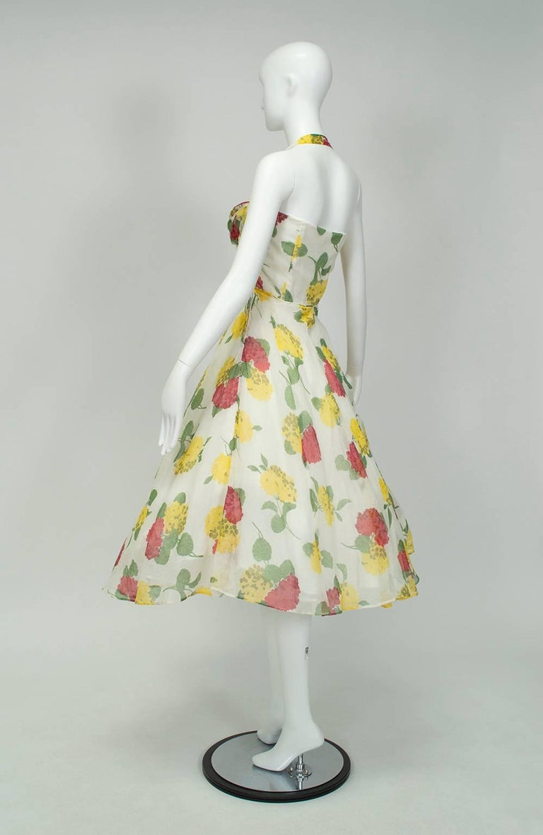 Beige Convertible Yellow Floral Circle Dress w Rhinestone-Studded Shelf Bust-S, 1950s For Sale