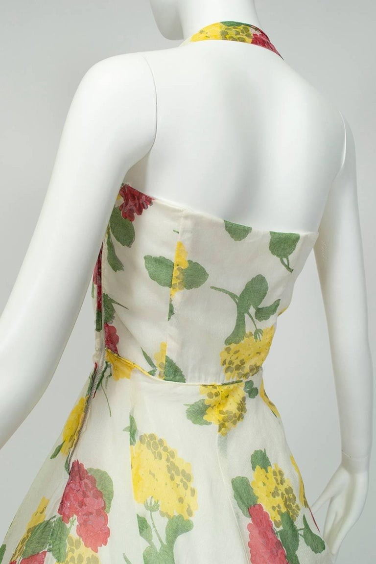 Convertible Yellow Floral Circle Dress w Rhinestone-Studded Shelf Bust-S, 1950s For Sale 2