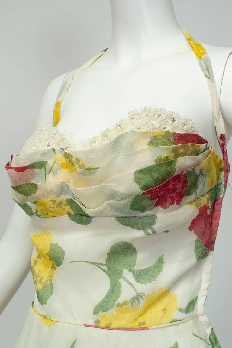 Convertible Yellow Floral Circle Dress w Rhinestone-Studded Shelf Bust-S, 1950s For Sale 1