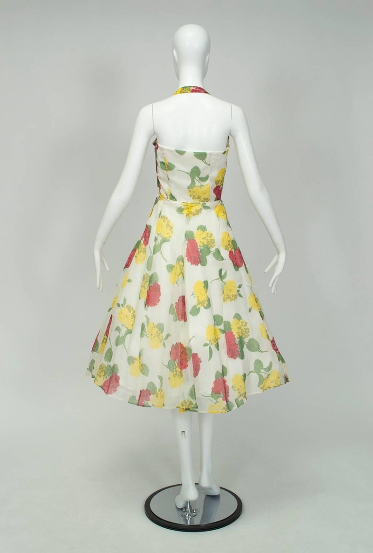 Convertible Yellow Floral Circle Dress w Rhinestone-Studded Shelf Bust-S, 1950s In Good Condition For Sale In Phoenix, AZ