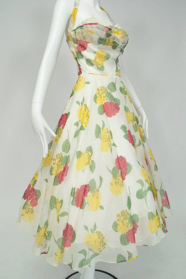 Women's Convertible Yellow Floral Circle Dress w Rhinestone-Studded Shelf Bust-S, 1950s For Sale
