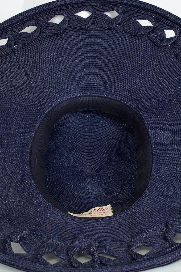 Women's Navy Capeline Extra Wide Brimmed Sun Hat with Windowpane Voids, 1950s For Sale