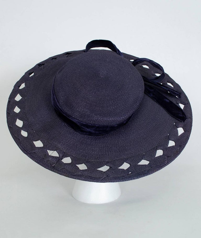 Gray Navy Capeline Extra Wide Brimmed Sun Hat with Windowpane Voids, 1950s For Sale