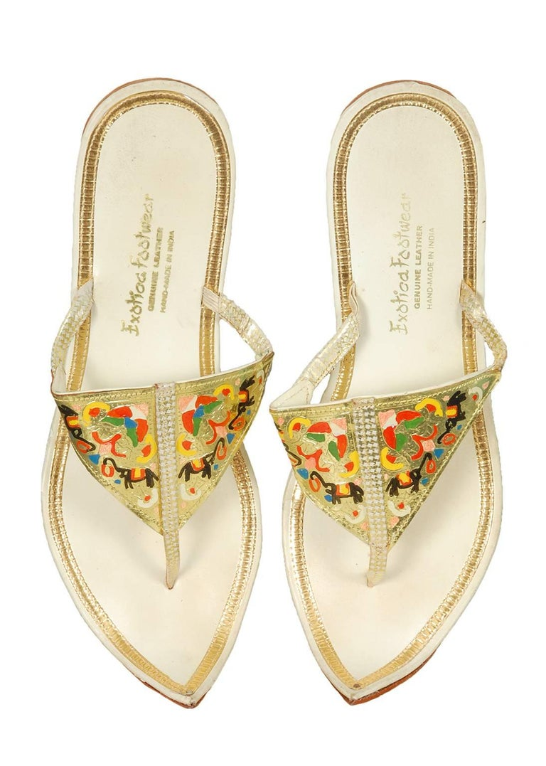 Hand Painted Persian Toe Flat Thong Sandals 1950s For