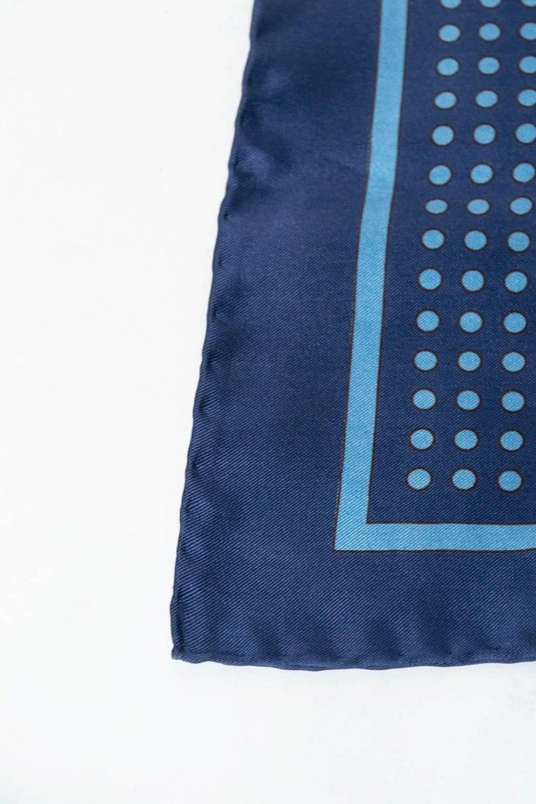 Bronzini Italian Silk Blue Dot Pocket Square Scarf, 1960s For Sale 1