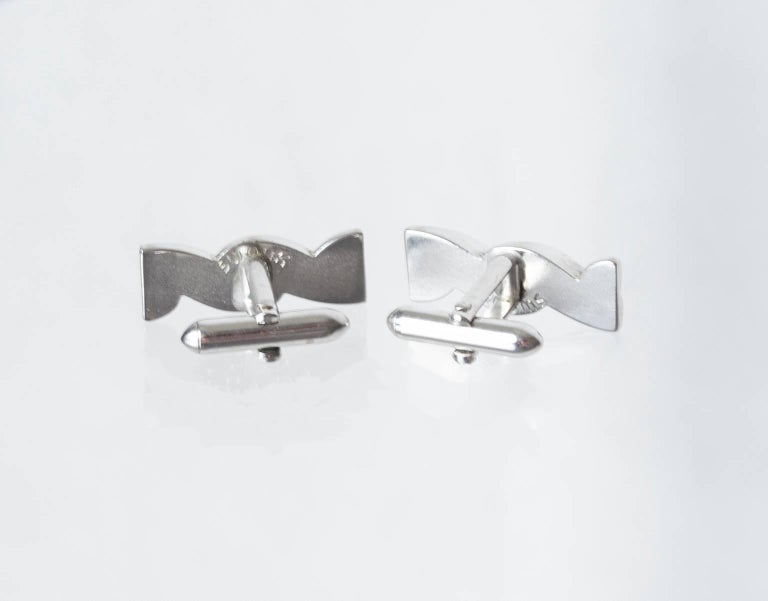 Men's Swank Silver Twist Toggle Back Cuff Links, 1960s For Sale