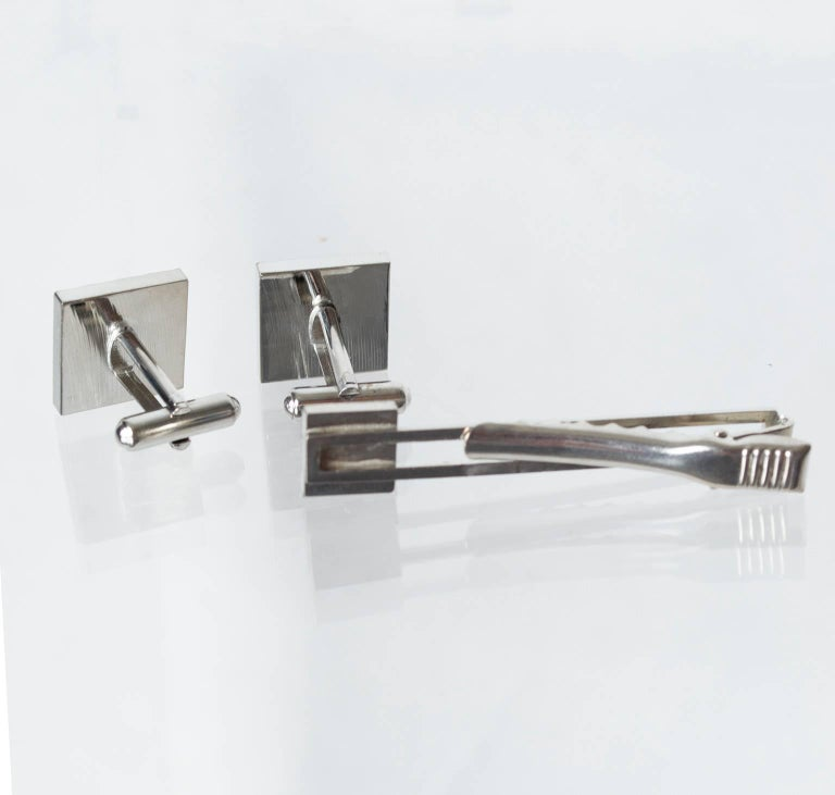Retro Silver and Aquamarine Crystal Tie Bar and Cuff Link Set, 1950s For Sale
