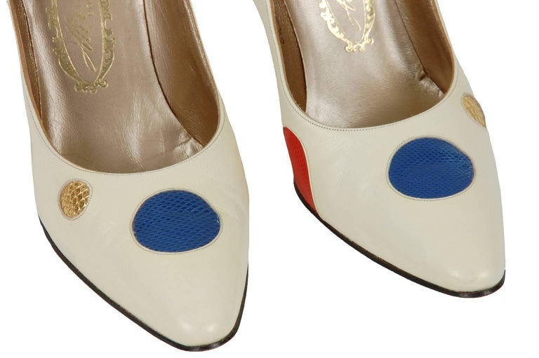 New Unworn Ivory Alix Multicolor Lizard Polka Dot Stiletto Pumps - 6.5 AA, 1950s In New Condition For Sale In Tucson, AZ