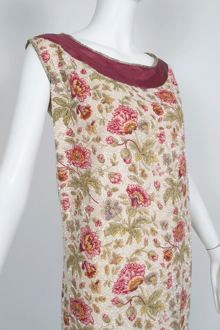 Brown Glass Bead Floral Sack Dress with Gold Brocade Piping, 1920s For Sale