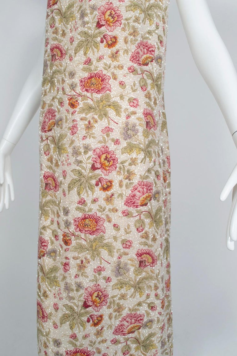 Glass Bead Floral Sack Dress with Gold Brocade Piping, 1920s For Sale 1