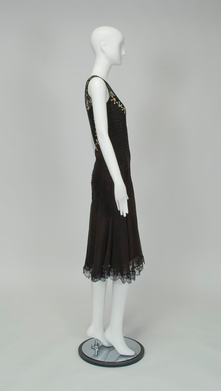 Black Sleeveless Chiffon Trumpet Dress with Embroidered Illusion Bodice, 1920s For Sale