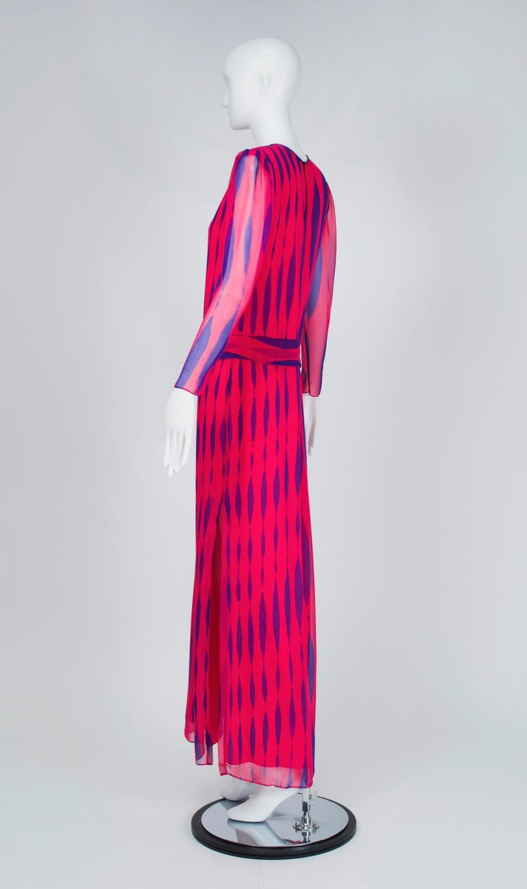 Pink Hanae Mori Fuchsia and Purple Pop Art Column Gown - Medium, 1980s For Sale