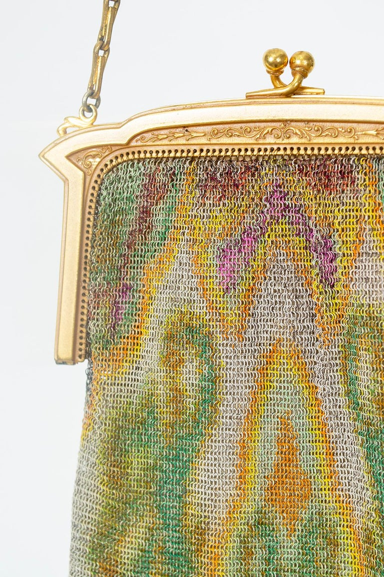 Brown Whiting & Davis Watercolor Dresden Mesh Evening Bag, 1920s For Sale