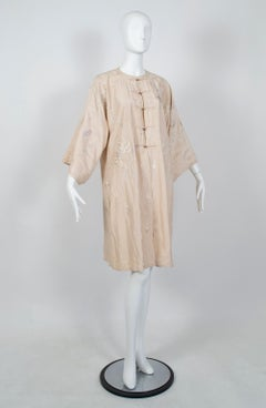 Edwardian Padded Canton Silk Embroidered Robe, 1900s