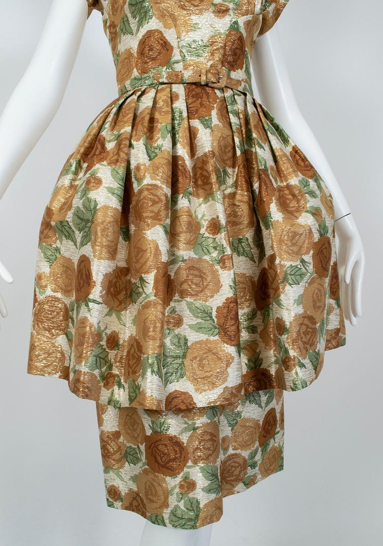 New Look Gold Floral Lampshade Party Dress, 1950s For Sale 3