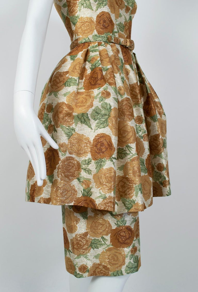 New Look Gold Floral Lampshade Party Dress, 1950s For Sale 4