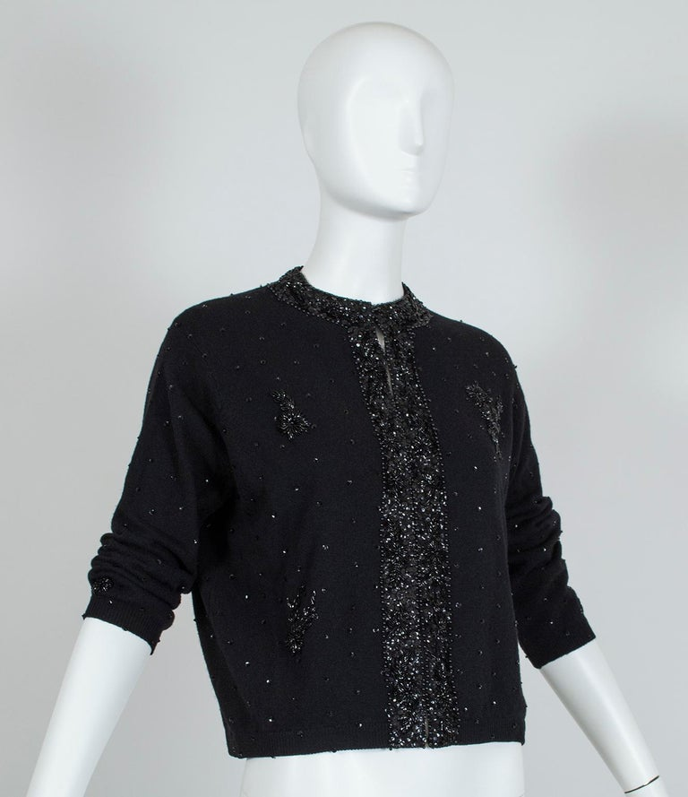 Black Bead and Sequin Sweater Girl Cardigan - Hong Kong, 1950s In Excellent Condition For Sale In Phoenix, AZ