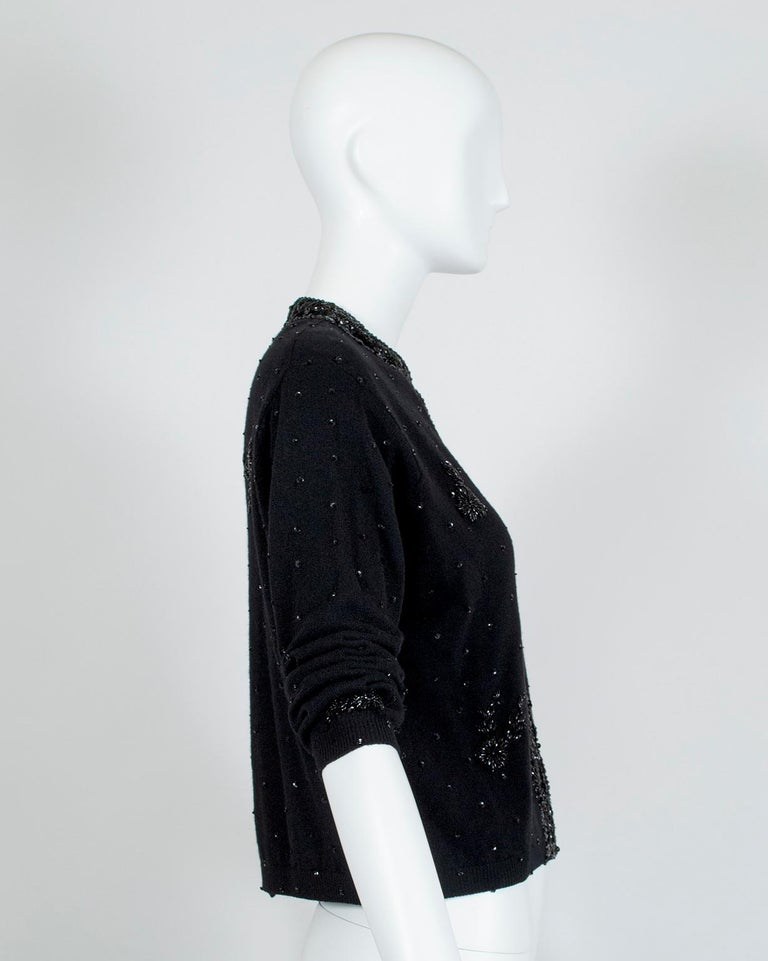 Women's Black Bead and Sequin Sweater Girl Cardigan - Hong Kong, 1950s For Sale