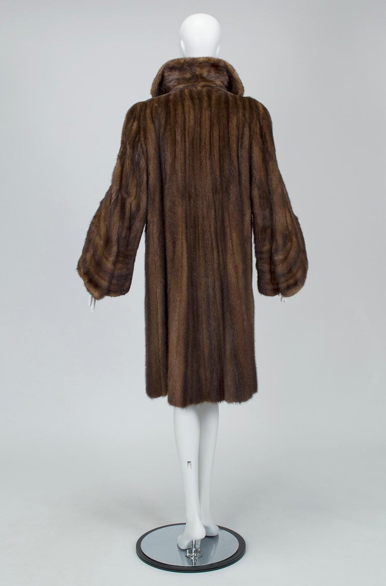 Black Mink Hollywood Regency Swing Coat with Art Deco Cuffs, 1940s For Sale