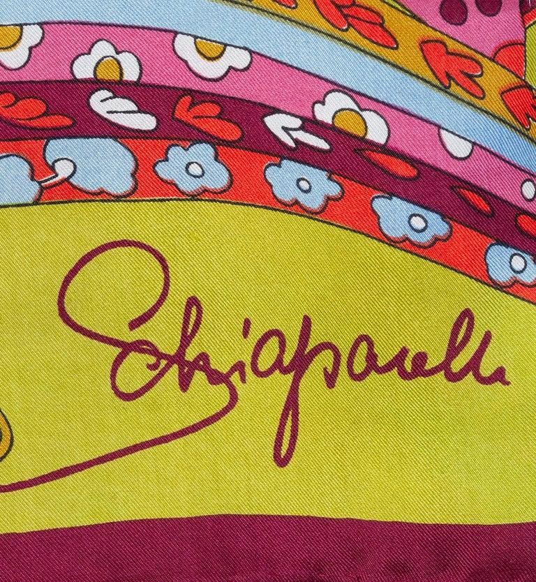 Schiaparelli Pop Art Psychedelic Silk Foulard Scarf, 1960s For Sale 2