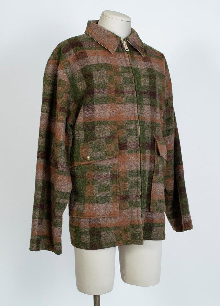Black Men's LL Bean Reversible Plaid Field Jacket, 1980s For Sale