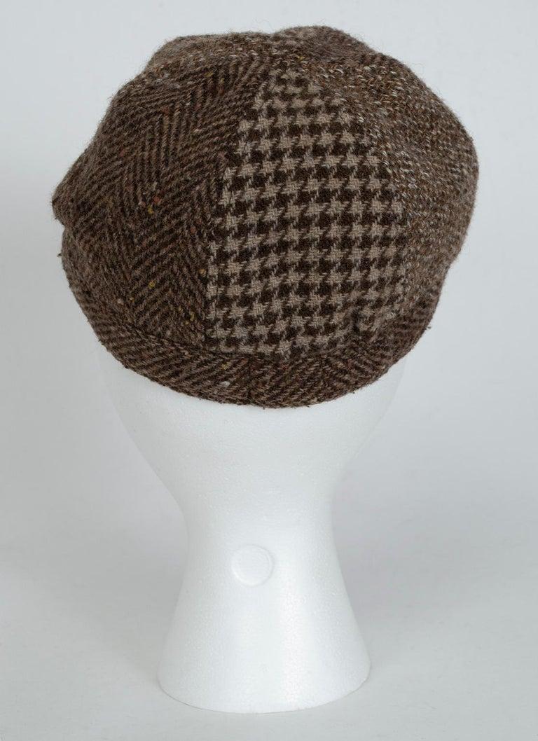 Gray Houndstooth, Herringbone and Tweed Wool Gatsby Cap, 1960s For Sale