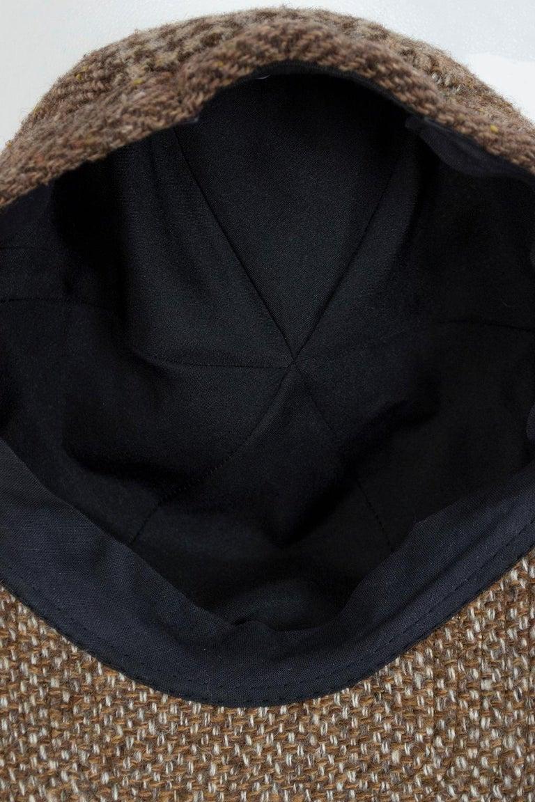 Women's Houndstooth, Herringbone and Tweed Wool Gatsby Cap, 1960s For Sale