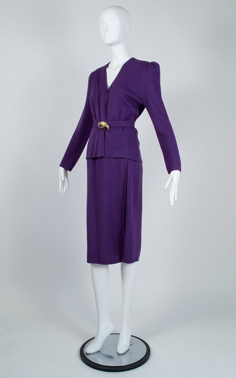 St John Purple Asymmetrical Drape Skirt Suit With Belt