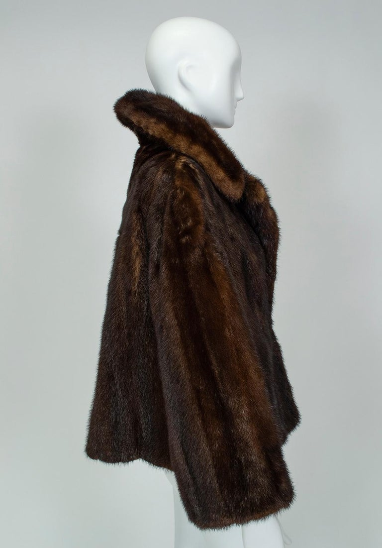 Black Mahogany Mink Chubby Fur Jacket with Oversize Collar, 1956 For Sale