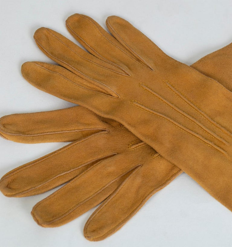 Women's Saddle Suede Three-Point Flared Gauntlet – France, 1960s For Sale