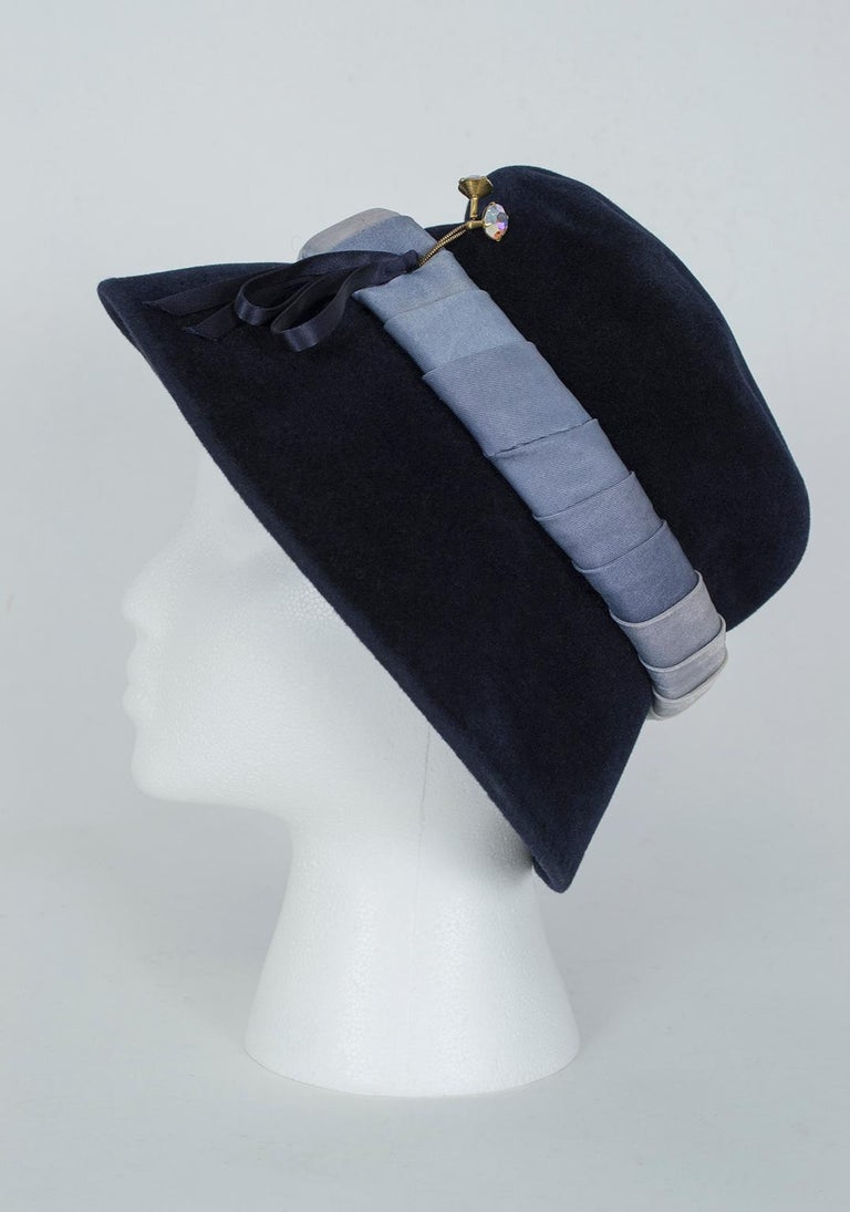 Gray Navy Bucket Hat with Silk Ombré Band - France, 1950s For Sale