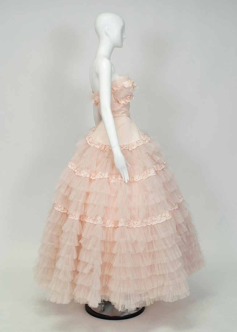 Beige Will Steinman Pink Strapless Asymmetrical Lace Wedding Ball Gown - Small, 1950s For Sale