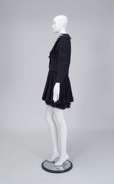 Black Chanel Cruise Navy Wool Bouclé Tutu Skirt Suit, 2002 For Sale