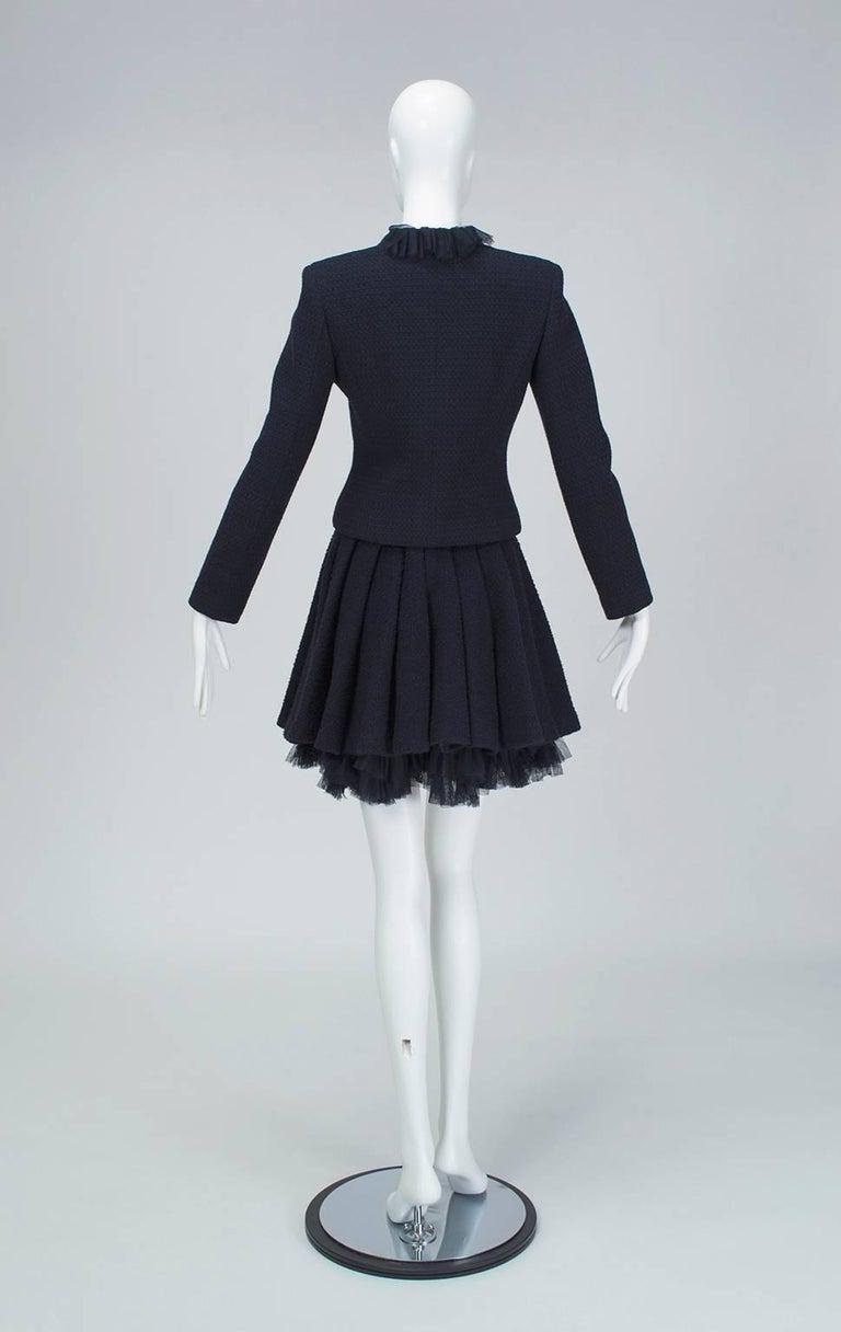 Chanel Cruise Navy Wool Bouclé Tutu Skirt Suit, 2002 In Excellent Condition For Sale In Phoenix, AZ