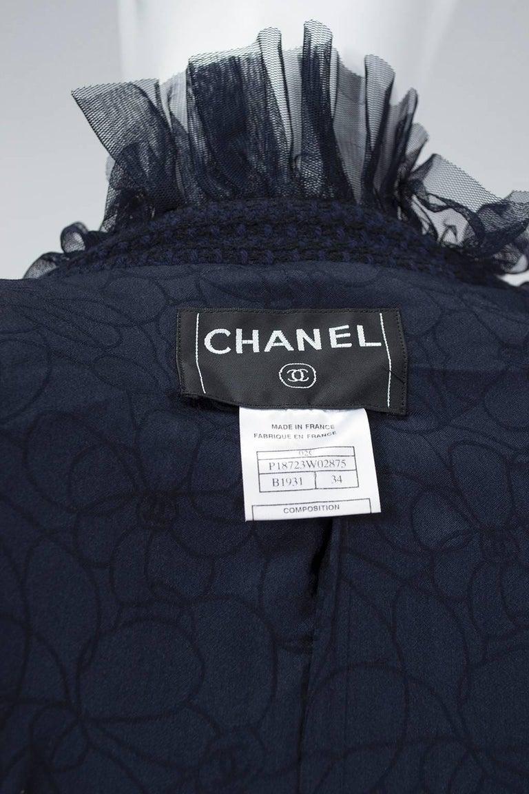 Chanel Cruise Navy Wool Bouclé Tutu Skirt Suit, 2002 For Sale 4