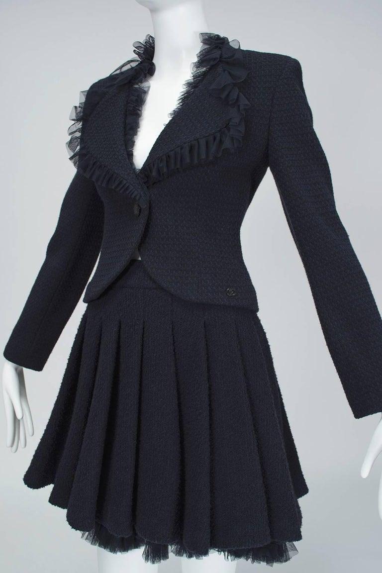 Women's Chanel Cruise Navy Wool Bouclé Tutu Skirt Suit, 2002 For Sale