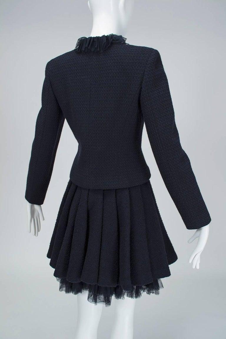 Chanel Cruise Navy Wool Bouclé Tutu Skirt Suit, 2002 For Sale 1