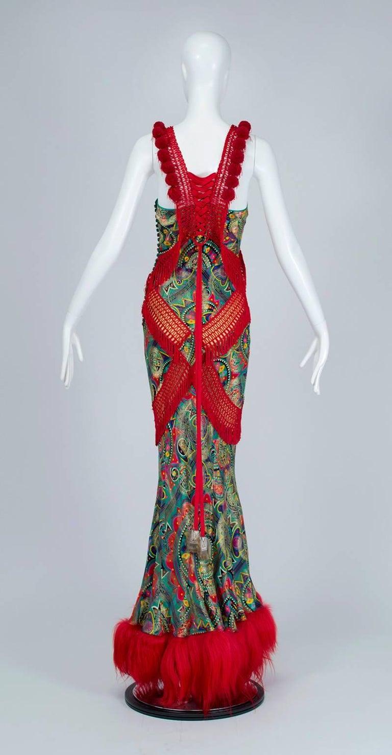 John Galliano Corset-Laced Damask and Mongolian Lamb Bias Gown, 2002 4