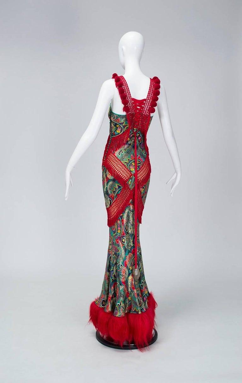 John Galliano Corset-Laced Damask and Mongolian Lamb Bias Gown, 2002 3