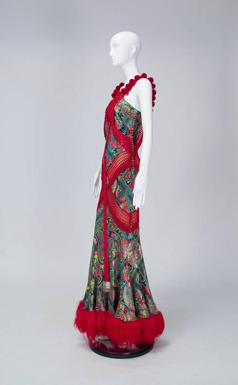 John Galliano Corset-Laced Damask and Mongolian Lamb Bias Gown, 2002 2