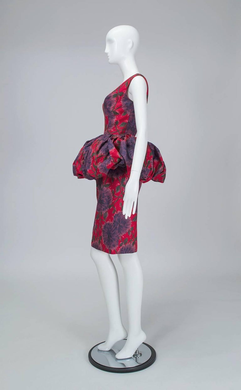 Brown Red and Purple Sheath Dress with Puffed Renaissance Farthingale - Medium, 1960s For Sale