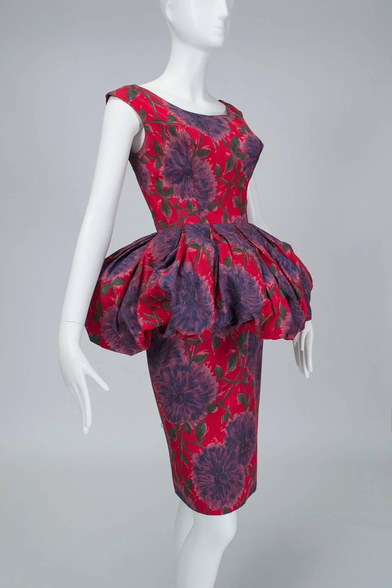 Women's Red and Purple Sheath Dress with Puffed Renaissance Farthingale - Medium, 1960s For Sale