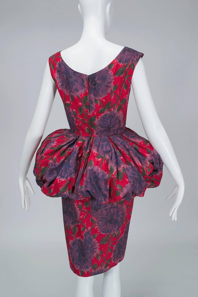 Red and Purple Sheath Dress with Puffed Renaissance Farthingale - Medium, 1960s For Sale 1