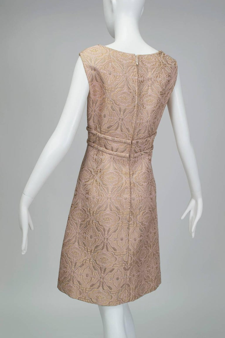 Pink and Gold Jacquard A-Line Dress and Coat Set - Jacome Estate, 1960s For Sale 3