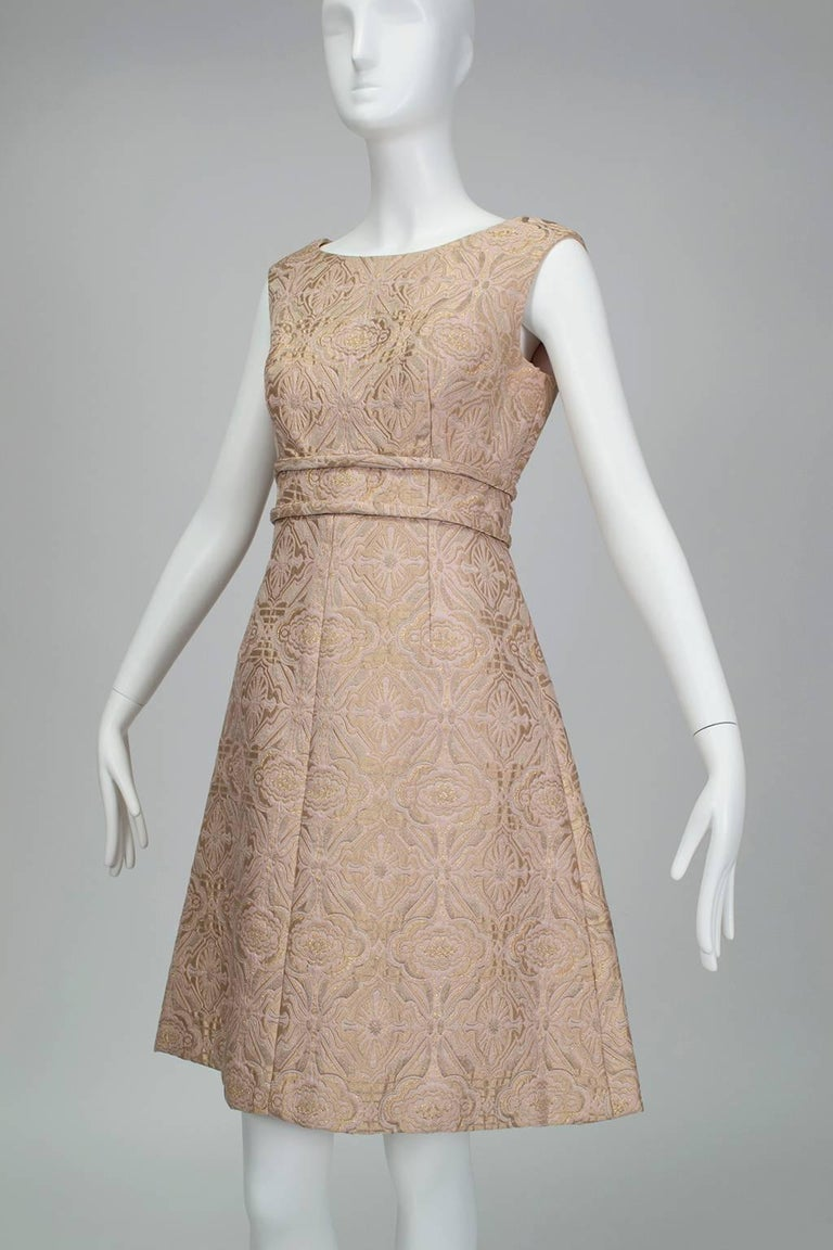 Pink and Gold Jacquard A-Line Dress and Coat Set - Jacome Estate, 1960s For Sale 2