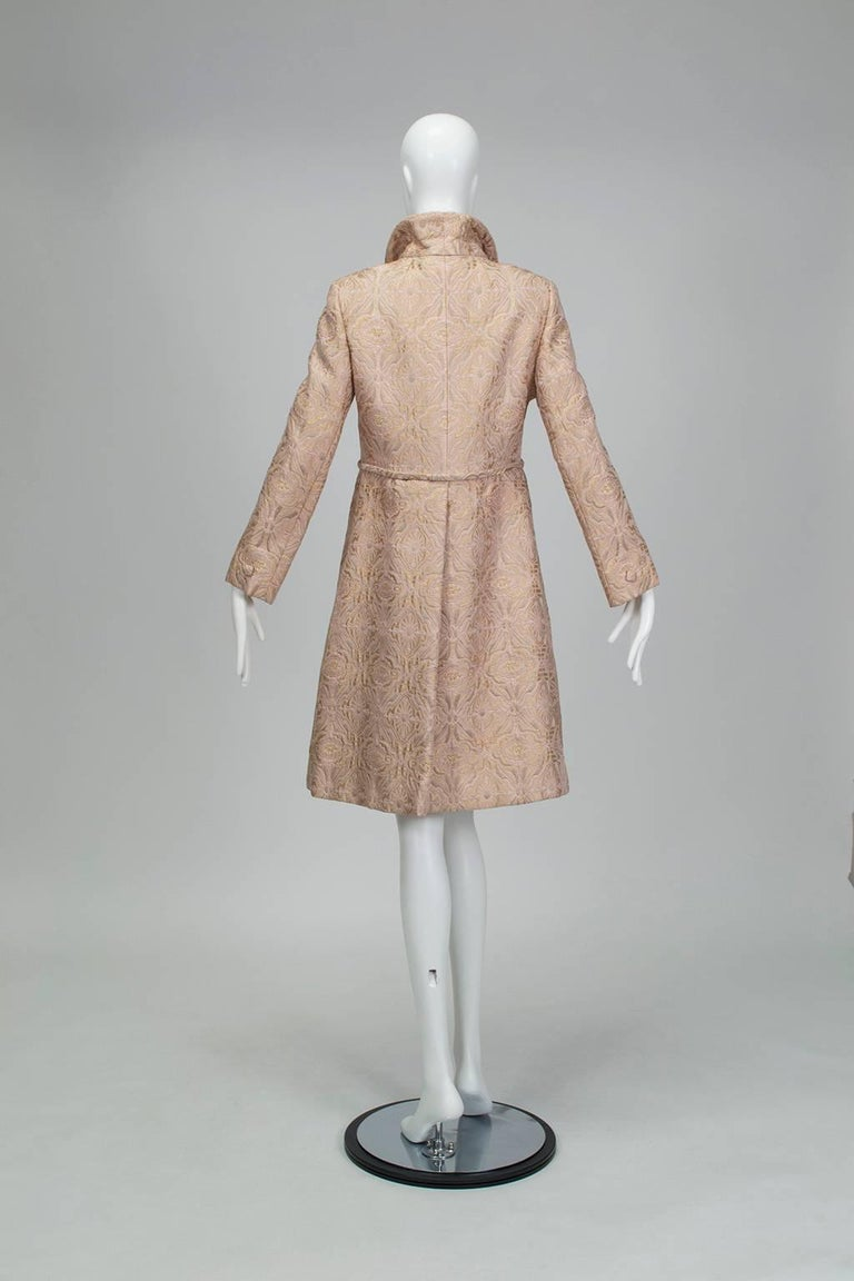 Brown Pink and Gold Jacquard A-Line Dress and Coat Set - Jacome Estate, 1960s For Sale